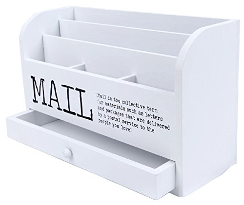3 Tier Wooden Mail Desktop Organizer & Sorter with Storage Drawer - for Office and Home - Keep Mail, Letters, Files, & Office Supplies Neat & Organized - White - 11 Inches.