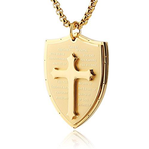 (HZMAN Shield Armor of God Ephesians 6:16-17 Faith (Cross) Stainless Steel Pendant Necklace)
