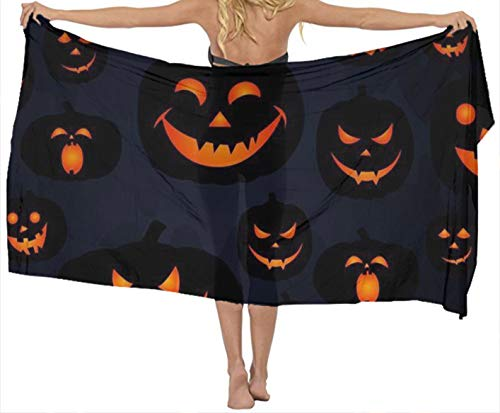JACINTAN Fashion Lightweight Scarves Women's Halloween Pumpkin Patterns Print Shawl Scarf -