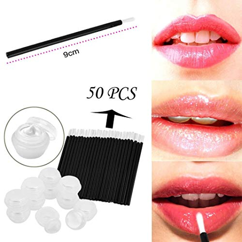 10 Pcs Empty Clear Plastic Cosmetic Containers + 50 Pcs Wool