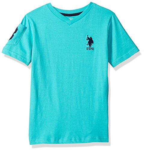 U.S. Polo Assn. Little Boys' Solid V-Neck T-Shirt, Malibu Blue, 4T