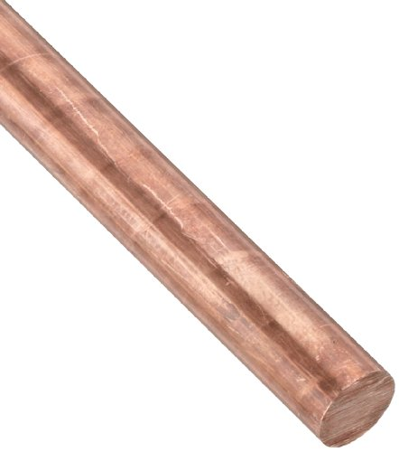 145 Copper Round Rod, Unpolished (Mill) Finish, H02 Temper, ASTM B301, 1'' Diameter, 24'' Length by Small Parts