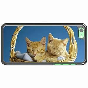 iPhone 5C Black Hardshell Case couple basket sleeping Desin Images Protector Back Cover