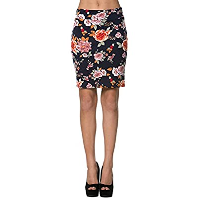 2LUV Women's Above the Knee Bodycon Pencil Skirt Navy & Orange for sale