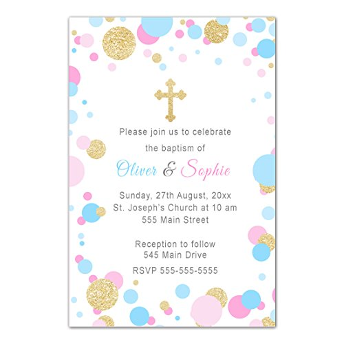 30 Invitations Confetti Baptism Christening Twins Personalized Cards Photo Paper