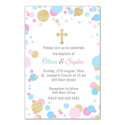 30 Invitations Confetti Baptism Christening Twins Personalized Cards Photo - Photo Baptism Invitation