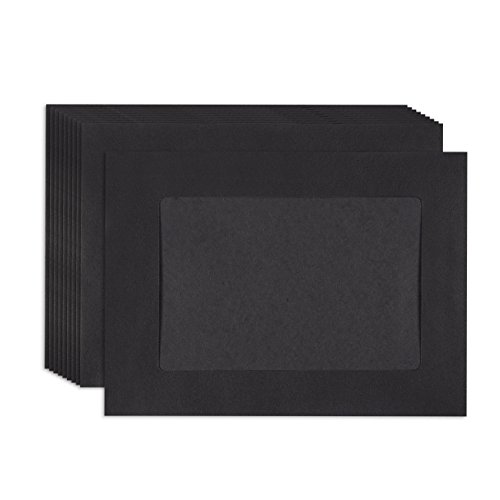 Halloween Frames For Photos (Juvale Paper Picture Frames - 50-Pack DIY Black Paper Photo Mats Photo Frame Picture Holder - Ideal for Inserting and Sending Memorable Documents, DIY Wall Decorations, Holds 4 x 6)