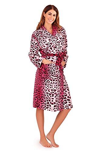 Bata para Dormir de Lana Suave Loungeable para dama en Multiples Diseños y estampados Rosado Leopardo Classic