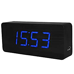 Wooden Digital Clock, KABB 8-Inches Black Wood Grain Blue LED Light Alarm Clock with Time Date Temperature Display and Snooze & Acoustic Control Functions for Office and Home Decoration