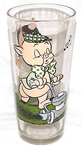 (PORKY AND PETUNIA PIG Vintage Collectible Glass (1976 Edition))
