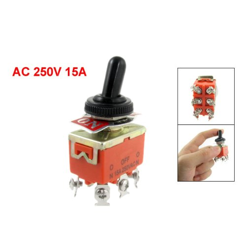 SODIAL(R) 15A/250VAC on/off/on 3 Position DPDT Toggle Switch with Waterproof Boot