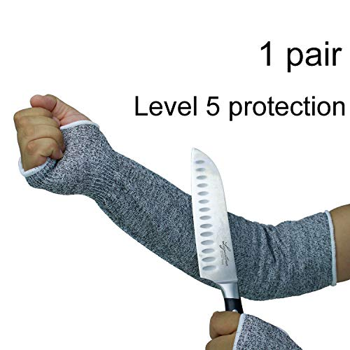 Kaimei Level 5 Protection Cut Resistant Knit Sleeves with Thumb Hole Helps Prevent Scrapes Scratches Skin Irritations UV-Protection 1 Pair