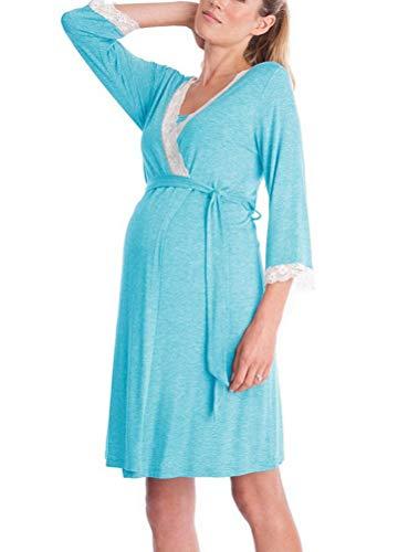 BIUBIONG - Camisón de Maternidad, Embarazo, Parto de enfermería, Hospital, camisón de Dormir para Lactancia, Azul, 12