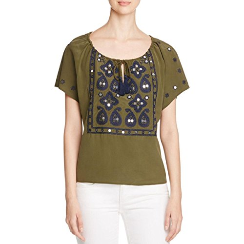 Tory Burch Womens Camille Top Embroidered Sequined Peasant Top Green 0 by Tory Burch