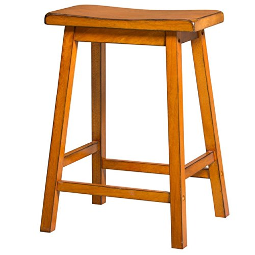 Contemporary Style 24 inch Counter Height Bar Stools with Saddle Seat | Oak Finish, Wood Frame, Home Decor (Set of 2) - Includes Modhaus Living Pen (Oak)