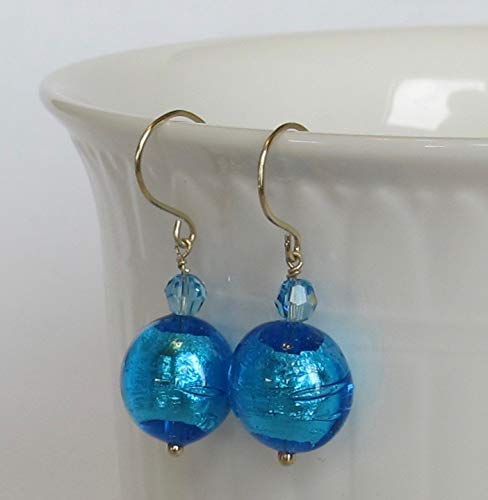 Dazzling Solid 14k Gold Handmade Blue Murano Glass Lampworked Beads with Swarovski Crystals (Blue 14k Venetian Glass Gold)