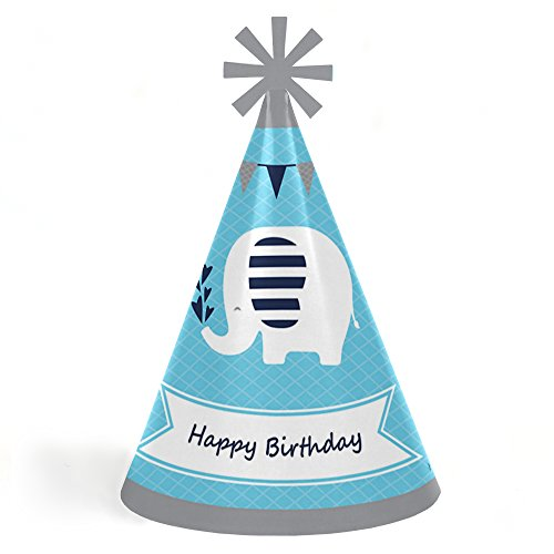 Blue Elephant - Cone Happy Birthday Party Hats for Kids and Adults - Set of 8 (Standard Size) ()