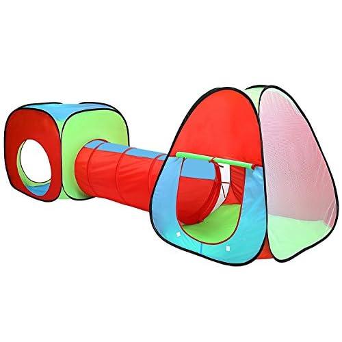 Pour enfants, enfants Pop Up Tente de jeu et tunnel Set–en rouge/bleu/vert