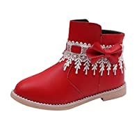 Girls Ankle Boots Kids Baby Lace Bowknot Princess Shoes Casual Side Zip Low Heel Chelsea Boot Faux Leather Rainboot