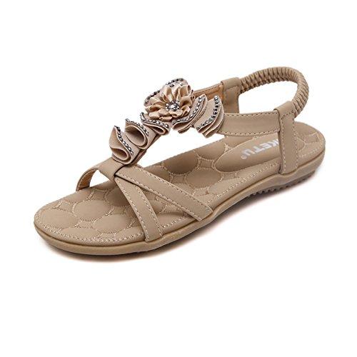 H&W Mujer Pumps Planas Verano Spring Sandalias Con Diamantes de Imitación Embellecido Beige