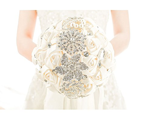 Pavian Advanced Customization Romantic Bride Wedding Holding Bouquet Roses (Ivory A)