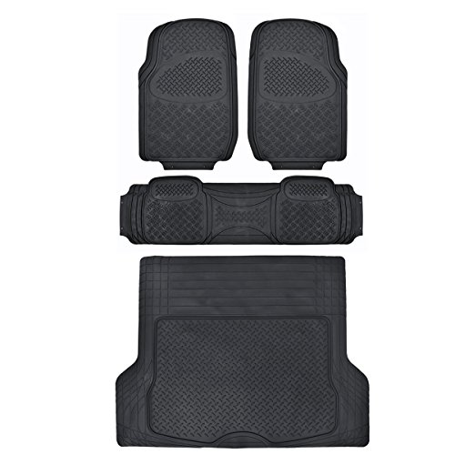 Trend Two Piece (Motor Trend Odorless Heavy Duty Car SUV 4 Piece Floor Mats - All Weather - 2 Row and Trim to Fit Trunk XL Cargo Liner (Black))