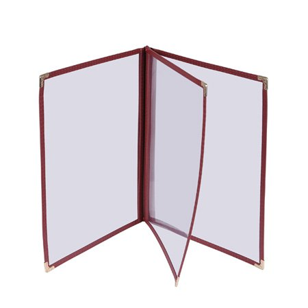 30 Professional Clear Cafe Restaurant Menu Covers 8.5x14 Burgundy Triple Fold Book Style Cafe 3 Page 6 View by Generic