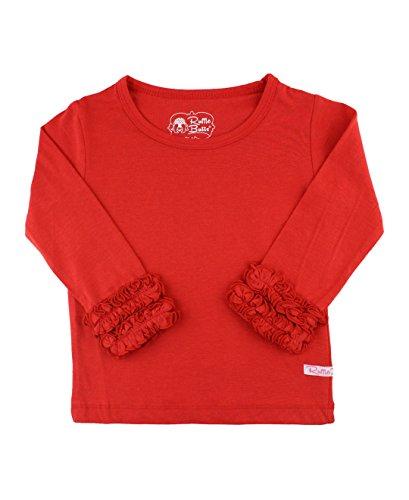 RuffleButts Little Girls Ruffled Long Sleeve Undershirt Tee - Red - (Red Girls Top)