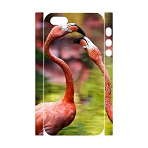 3D Bumper Plastic Customized Case Of Flamingos for iPhone 5,5S