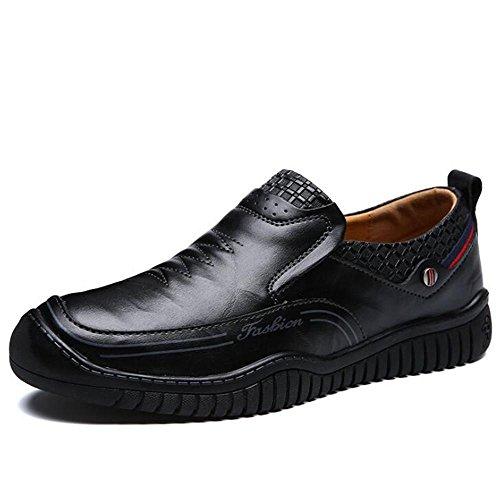 de On blanda de Casual Zapatos Elegante 38 negro a Talla 43 Black Mocasines los Conducción Zapatos suela hombres cuero genuino de Slip SnnPxqZpwg