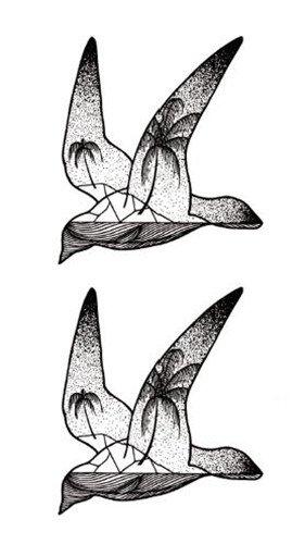 Yangll Impermeables Falsas Pegatinas De Tatuaje Temporales Gris ...