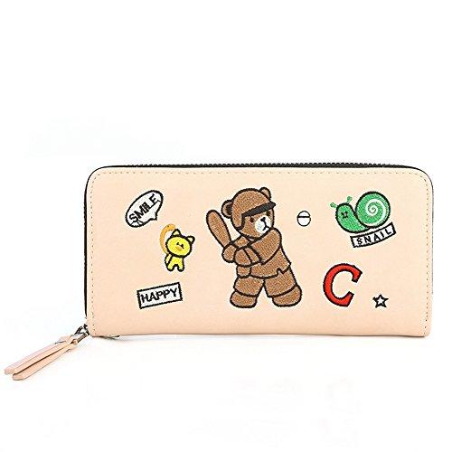 Zipper Women Wristlet Bear Purse Clutch Leather PU Badiya Wallet Embroidery Pink Long 6xqYdScw