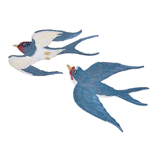 Towashine 1 Pair Swallow Bird Iron Sew on Embroidered Patches Small Cute Design Craft Accessories Blue (Bird Embroidered Iron)