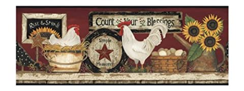 York Wallcoverings CB5538BD Hen And Rooster Border (Wallpaper Country)