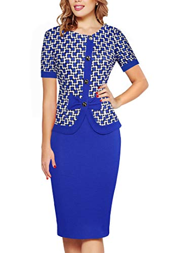 Fantaist Women Elegant Round Neck Peplum Fitted Wear to Work Career Pencil Midi Dress (S, FT636-Blue)