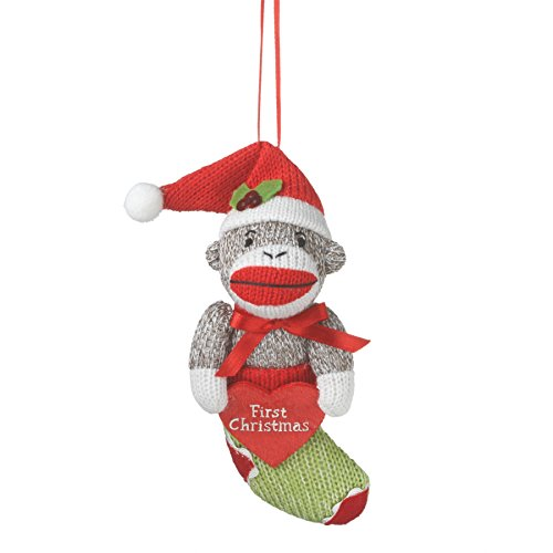 Babys First Christmas Sock Monkey in Stocking Holiday Ornament Midwest (Sock Monkey Ornament)