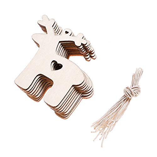 DSSY 20 Pieces Unfinished Wooden Christmas Gift Tags Christmas Tree Ornaments for Christmas Decoration and DIY Craft -