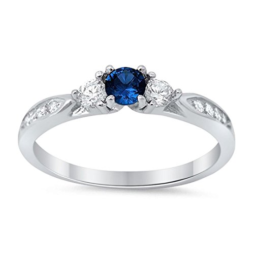 (3-Stone Wedding Engagement Ring Simulated Blue Sapphire Round Cubic Zirconia Three Stone 925 Sterling Silver Choose Color, Size-9)