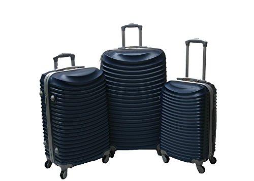 JustGlam - Set 3 Trolley set2030, valige rigide in ABS policarbonato, bagaglio piccolo da cabina, chiusura con lucchetto / blu