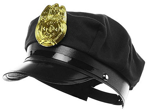 Police Costumes Hat (Jacobson Hat Company Police Hat with Bright Gold Plastic Badge - Black)