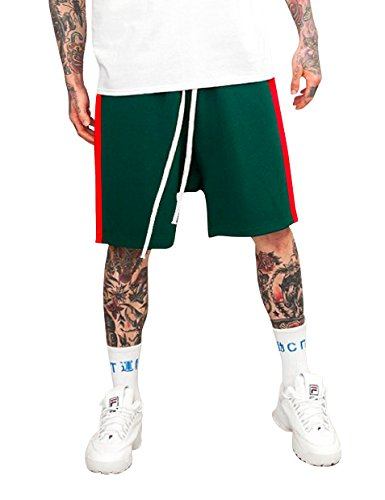 Hat and Beyond Mens Stripe Track Shorts (2X-Large, mx06_Hunter Green/Red)