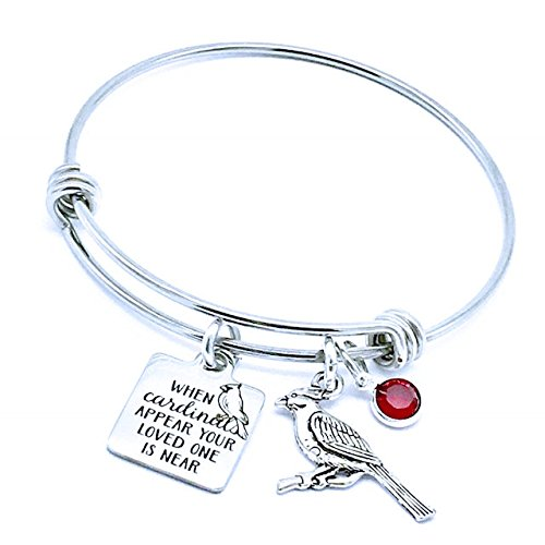 Memorial Jewelry, When Cardinals Appear Your Loved One is Near Bangle Bracelet by Jesse Janes Jewelry