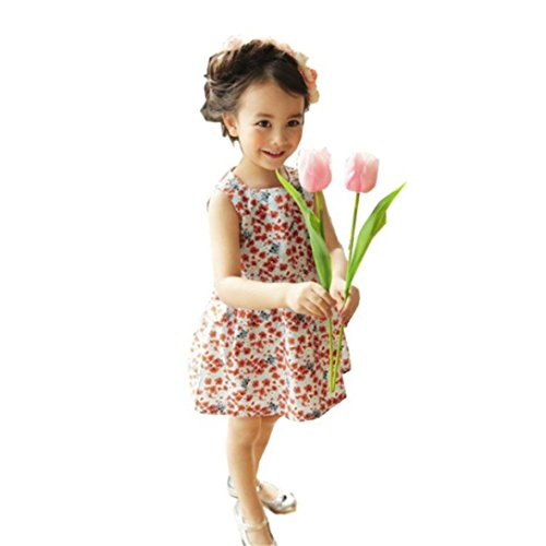 Price comparison product image Aniywn Baby Dress, Girl Flowers Love Heart Adorable Dress Infant Baby Girls Cute Cat Floral Sleeveless Backless Dress Outfits (4T, Orange)
