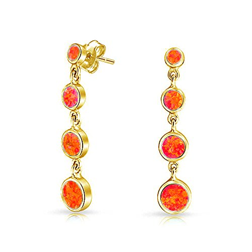 Round Disc Mexican Fire Orange Created Opal Long Bezel Set Dangle Earrings For Women 14K Gold Plated 925 Sterling ()