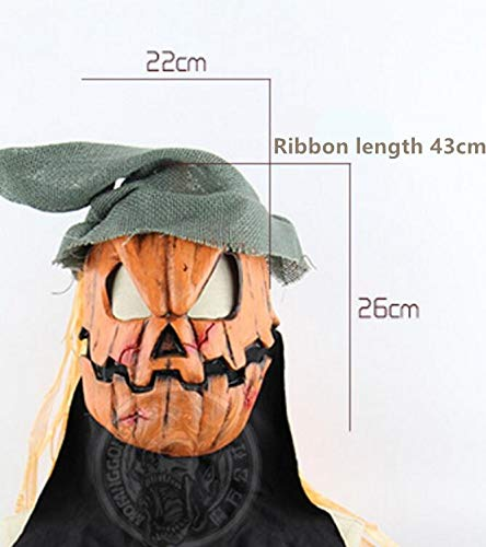 Lessonmart Horror Halloween Mask Pumpkin Scarecrow Creepy Realistic Crazy Rubber Super Creepy Scary Latex Party Halloween Costume Mask -