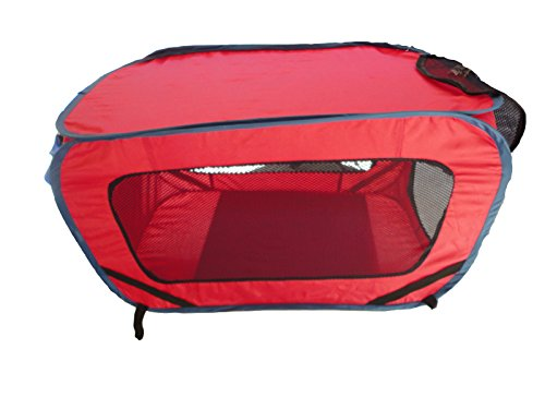 Dog Pet Cat Kennel Carrier Folding Portable Mesh Window Red Color for Auto Car Truck RV SUV