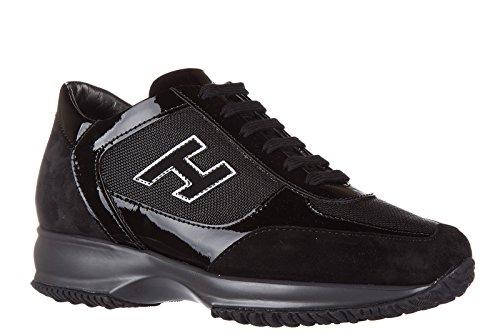 Hogan Damenschuhe Sneaker Camoscio Camoscio Nuove Interactive H Flock Schwarz
