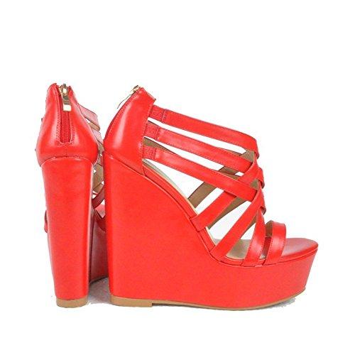 Kolnoo Damen Faschion 15cm Keil-hohe Absätze Crisscross Partei Abschlussball Sandelholz Sommer Schuhe Reds