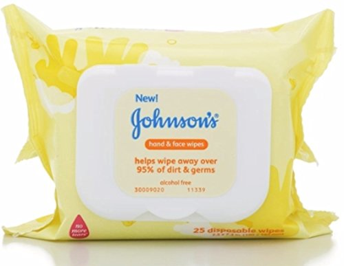 JOHNSON'S Hand & Face Wipes 25 Each (Pack of 12)