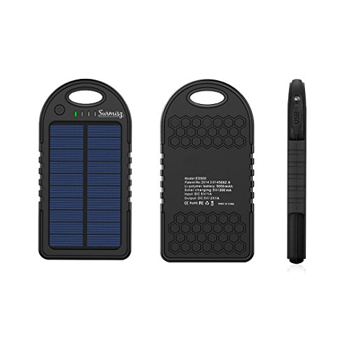 5000mAh External Solar Battery Charger – Solar Portable Smartphone Charger with USB Port – Compatible with Android, iPhone – Waterproof – LED Light Indicator – Ideal for Emergency, Camping, Trips by Surmisz